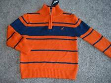 Nautica Boy Orange Blue Striped Sweater Size Small 4 4T NWT NEW Kids Fall Winter