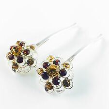 USA Bobby Pin Rhinestone Crystal Hair Clip Hairpin Jeweled Charming Silver Brown