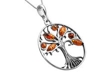 STERLING SILVER 925 & BALTIC AMBER TREE OF HAPPINESS BIG PENDANT NECKLACE +CHAIN