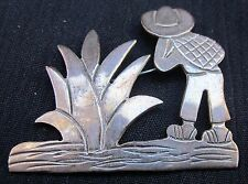 """Vintage Pin/Brooch Silver 925 Mexican Man & Cactus Plant  2"""" X 1.5"""" Charming!!"""