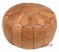 Marocco POUF ottoman STUFFED nel Regno Unito GENUINE LEATHER hand-stitched NATURAL TAN