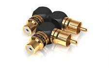 2 x Viablue XS Cinchadapter 90° S/XL Mix adaptateur d'angle 40625 RCA Coudé