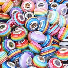 Mixed Stripes Murano Lampwork Resin Beads Fit European Charm Bracelets - 100PCS