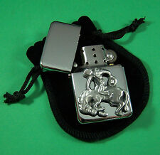 RODEO RIDER Petrol Lighter in Pouch Free UK Post Western, Cowboy, Equine, Horse