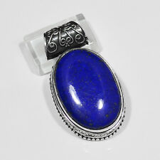 "ROYAL OVAL CUT LAPIS LAZULI, HAND CARVED .925 STERLING SILVER PENDANT 1.8"" LONG"