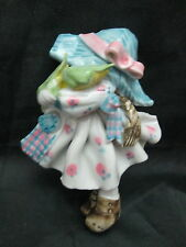 Ceramic Doll Pin / Brooch - Girl  White Dress w/ Blue Hat Carrying ears of Corn