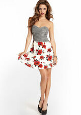 GUESS Rose SEXY Dot Mixed Print Strapless Dress 8 Floral Party Valentine's Day
