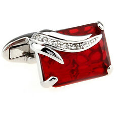 Men's Cufflinks Nevada Bloodstone Cut Red Crystal Silver Waved Bands Cuff Links
