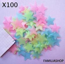 Lot 100 étoiles phosphorescentes multicolores lumineuse nuit déco chambre enfant