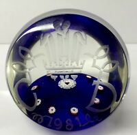 LOVELY LIMITED EDITION SELKIRK GLASS PAPERWEIGHT TO COMMEMORATE ROYAL WEDDING
