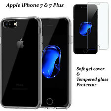 For iPhone 7/7 Plus Thin Clear Gel Case Cover & Tempered Glass Screen Protector