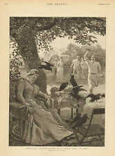 Crows At Tennis Party In India, Unwelcome Visitors, Vintage 1891 Antique Print