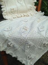 Baby Knitting Pattern DK Pram Blanket Cushion Cover Hearts & Roses Boys Girl 433