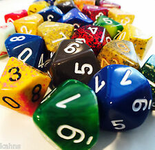 Chessex Assortment of 10  D10 - 10-sided Dice - Free Ship!