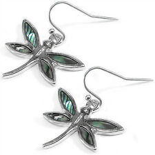 Dragonfly Fashionable Earrings - Fish Hook - Abalone Paua Shell