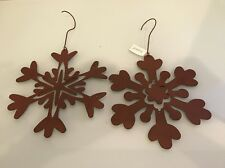 2 Extra Large Snow Flake Holiday Christmas Ornament, Metal
