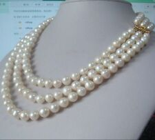 "3 row strands natural 9-10mm akoya white pearl necklace 18""19""20"" 14K gold clasp"