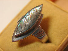 hübscher, alter Perlmutt-Ring, 925iger Silber, Größe 57