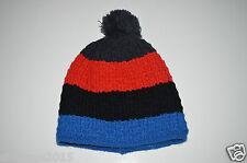 Herren Winter Strickmütze Mütze blau rot schwarz mit Bommel one size Neu!!!