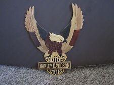 Harley Davidson Hand Carved Wood Art Plaque - Flying Eagle