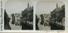 STEREOSCOPIE Stereoview / VUES DE BELGIQUE BRUGES QUAI DE LA MAIN D'OR
