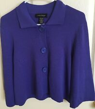 Cable & Gauge Women's 3/4-sleeve Baby Doll style Swing Jacket in Purple - Size M