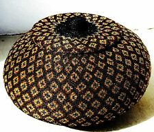 "16"" BALI BALINESE GLASS BEADED WOVEN RATTAN LIDDED BASKET GEOMETRIC DESIGNS FOLK"