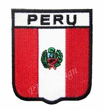 #7 - PERU Crest Flag Iron On Patch Aufbügler Applique Ecusson Wappe Fahne