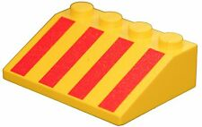 Missing Lego Brick 3297po4 Yellow Slope Brick 33 3 x 4 with Red Stripes Pattern