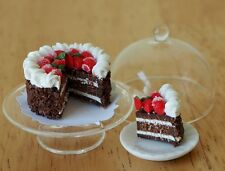 Dollhouse Miniatures Chocolate Cake Strawberry Top Glass stand & Cover Food Deco