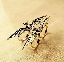 Vampire Gothic Bat Ring Vintage adjustable bronze colour double finger Halloween