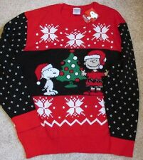 Snoopy Christmas Charlie Brown Sweater XXL Large Red Winter NWT Not Ugly!