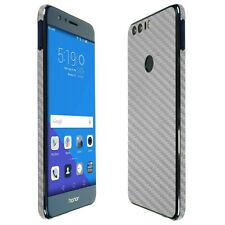 Skinomi Silver Carbon Fiber Skin+Clear Screen Protector for Huawei Honor 8