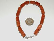 """Sterling Silver and 8x12mm Brown Goldstone Tube Bracelet 8 5/8"""" (7850)"""