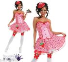 LADIES SEXY PINK CUPCAKE FANCY DRESS COSTUME CORSET TUTU SKIRT & HAT KATY PERRY