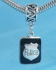 Police Badge Slider Charm fits European Bracelets or Necklace