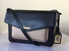 LAUREN RALPH LAUREN Bramley Black Beige Rosewood Leather Messenger Bag NWT $198