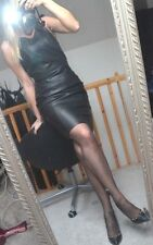 new NEXT  BLACK FAUX LEATHER PENCIL DRESS  8/10 UK  36/38 EUR New Year Eve