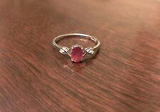 STERLING SILVER 1/2 CT OVAL NATURAL RUBY & DIAMOND RING  JULY  - SIZE 9