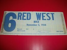 1988 NOTRE DAME NATIONAL CHAMPION GAME PARKING PASS ND VS. RICE - 11-5-1988