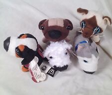 McDonalds Happy Meal Toys The Dog The Cat Plush Key Chains Lot Of 5 2004-2005