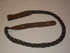 LAKOTA LEATHERS FLAT BRAIDED mandolin strap US made Black & Choc ELK LEATHER!