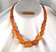 alte Bernsteinkette Oliven real amber Bernstein Kette / AS 497