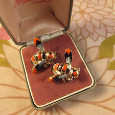 Pair of Vintage 1970s Metal and Enamel Bee Scatter Pins-on Original Cards