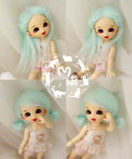"3""-4"" 9-10cm Water Blue Fabric Fur Wig For AE PukiFee lati 1/12 Doll Antiskid"