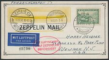 MI #135a ZEPPELIN FLIGHT CARD GERMANY TO NEWARK, NJ BR2406