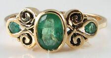 Splendido Vittoriano 9k Erba Verde Smeraldo Anello Di Scorrimento