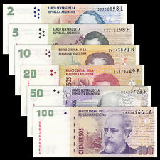 Argentina 6 PCS Banknotes Set (2+5+10+20+50+100 Pesos), 2012-2014, UNC