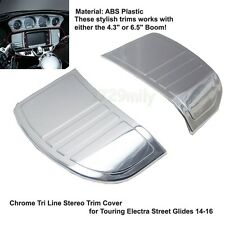 Chrome Tri Line Stereo Trim Cover for Harley Touring Electra Street Plastic14-16