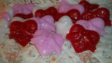20 LARGE HEART W/DOVES TART MELTS-HIGHLY SCENTED-VALENTINE COLORS - U PICK SCENT